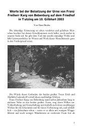 Worte bei der Beisetzung der Urne von Franz Freiherr Karg von ...