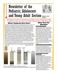 Newsletter Of The Pediatric, Adolescent And Young Adult Section