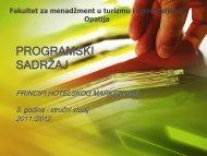 programski sadrţaj - LUMENS - Fakultet za menadžment u turizmu i ...
