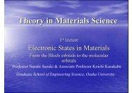 Theory in Materials Science - Osaka University