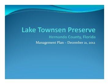 lake townsen management plan final - Hernando County