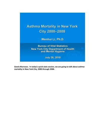 Asthma Mortality in New York City 2000–2008 Wenhui Li ... - NYC.gov