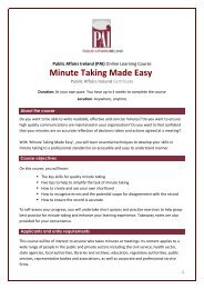 Minute Taking Made Easy Brochure - Public Affairs Ireland