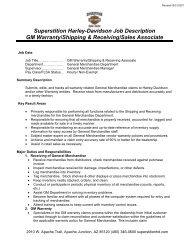Superstition Harley-Davidson Job Description GM Warranty ...