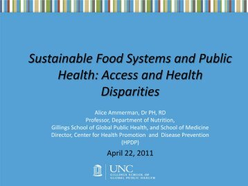 Sustainable Food Systems and Public Health - Center for Research ...