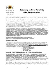 Returning to New York City after Incarceration - MFY Legal Services