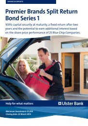 Premier Brands Split Return Bond Series 1 - Ulster Bank