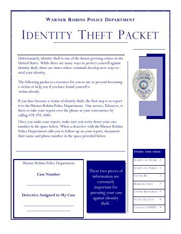 IDENTITY THEFT PACKET - Warner Robins Police Department