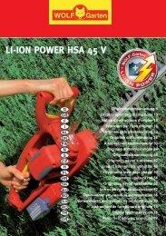 li-ion power hsa 45 v li-ion power hsa 45 v - WOLF-Garten