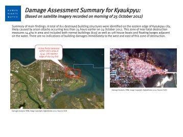 Damage Assessment Summary for Kyauk Pyu (Satellite Imagery