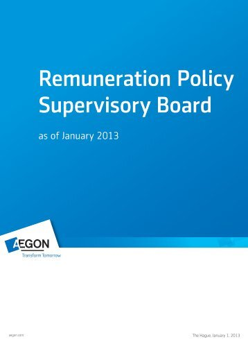 Remuneration Policy Supervisory Board - Aegon