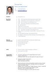 Curriculum Vitae PD Dr. med. Gabriela Studer Tel. Fax Email ++41 ...