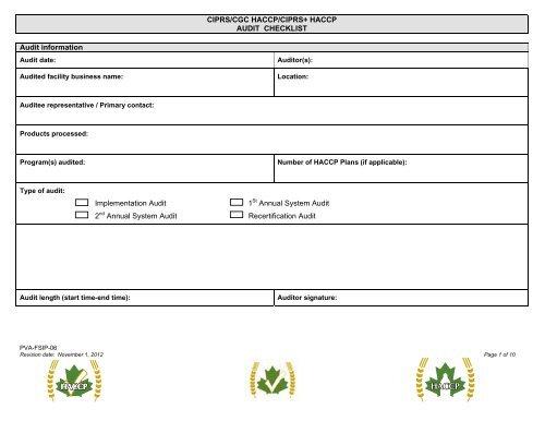 Ciprscgc Haccpciprs Haccp Audit Checklist