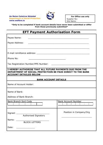 EFT Payment Authorisation Form - Welfare.ie