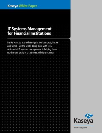 IT Systems Management for Financial Institutions - Kaseya