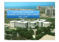 LEVINSKY COLLEGE SCHOOL OF MUSIC EDUCATION TEL AVIV