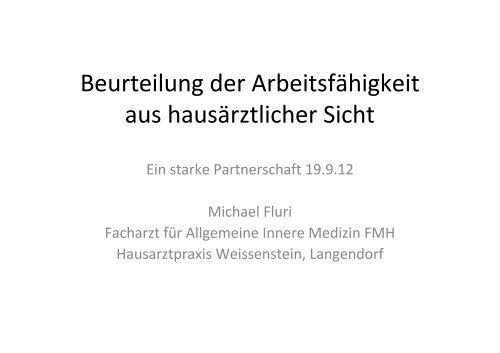 Präsentation Herr Dr. med. Michael Fluri, Facharzt für Allgemeine ...