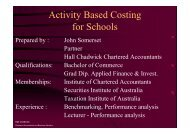 Activity Based Costing for Schools