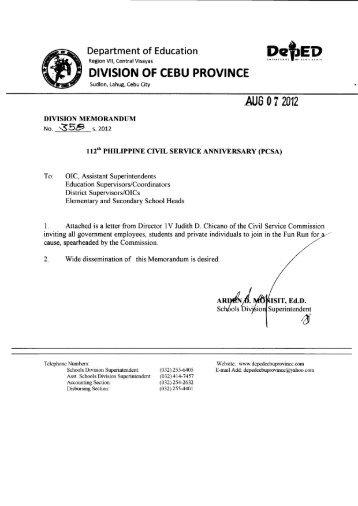 Memo No. 358, S. 2012 - DepEd Cebu Province