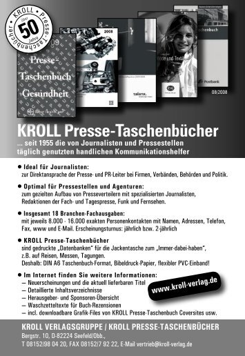 KROLL Presse-Taschenbücher - Pressguide.de