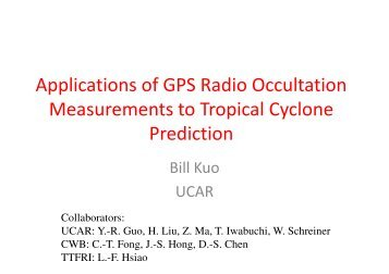 Applications of GPS Radio Occultation Measurements to Tropical ...
