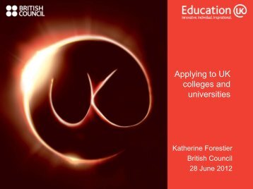 Applying to UK colleges and universities - Education UK