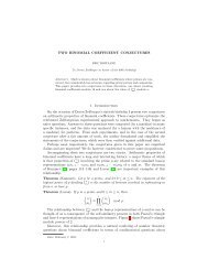 TWO BINOMIAL COEFFICIENT CONJECTURES 1. Introduction On ...