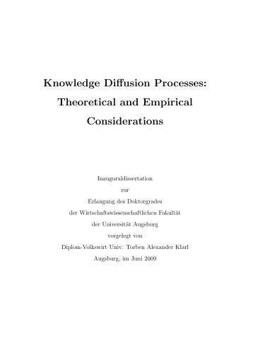 Knowledge Diffusion Processes - OPUS Augsburg - Universität ...