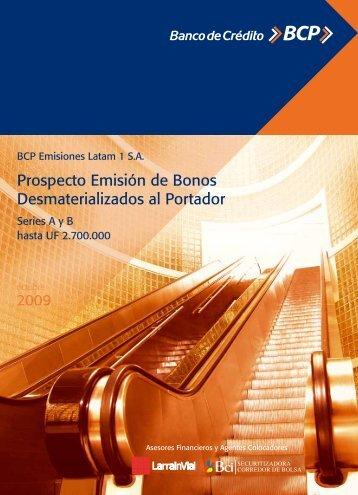 Prospecto Emisión de Bonos Desmaterializados al Portador - Bci