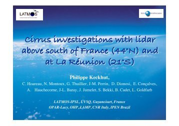 Cirrus investigations with lidar above south of ... - Megha-Tropiques