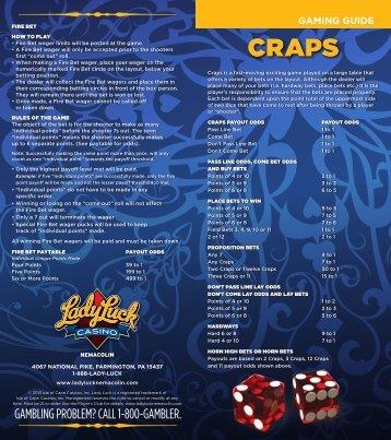 Craps Gaming Guide - Lady Luck Casino Nemacolin - Isle of Capri ...