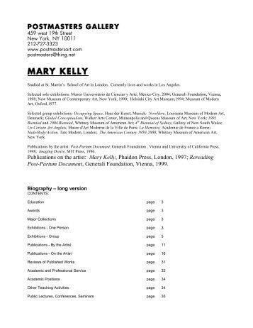 MARY KELLY - Postmasters Gallery