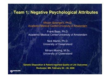 Team 1: Negative Psychological Attributes - GeneQol Consortium