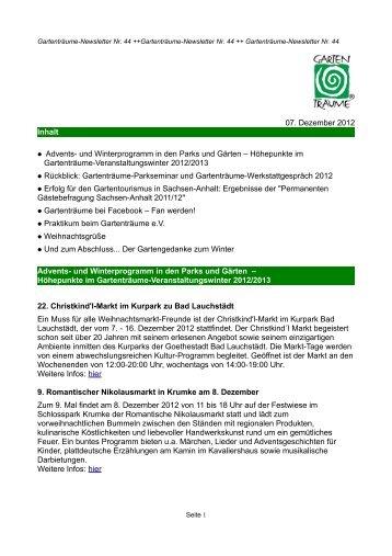 newsletter herbst 2012 - Gartenträume