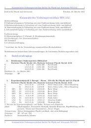Kommentiertes Vorlesungsverzeichnis WS 1112 - Institut fuer Physik
