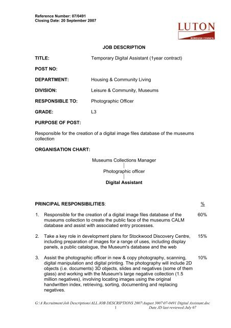 JOB DESCRIPTION TITLE Temporary Digital Assistant 1year