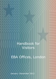Handbook for Visitors EBA Offices, London - Europa