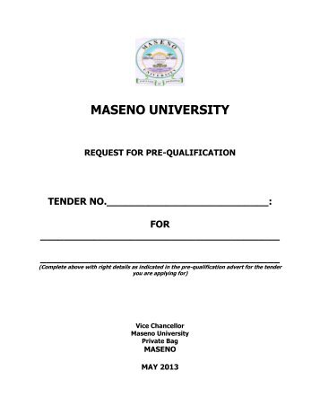 maseno university request for pre-qualification tender no.