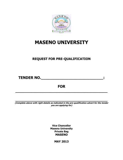 maseno university request for pre-qualification tender no
