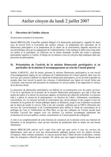 Compte-rendu de l'atelier citoyen du 2 juillet 2007 - Conseil général ...