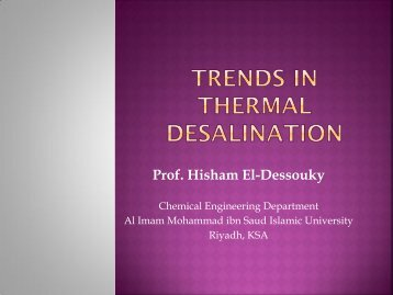 TRENDS IN THERMAL DESALINATION