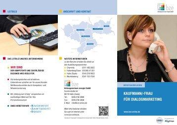 Kaufmann/-frau für DialogmarKeting - bze