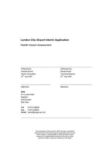 London City Airport Interim Application Health Impact Assessment