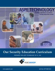 SI, Inc. and ASPE Technology's Joint Security Application Curriculum