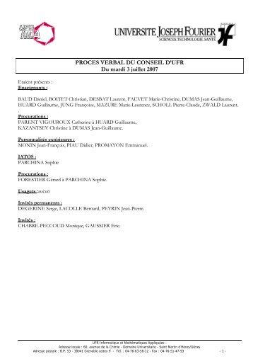 PROCES VERBAL DU CONSEIL D'UFR Du mardi 3 juillet 2007