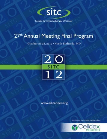 27th Annual Meeting Final Program - Society for Immunotherapy of ...