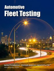 Automotive Fleet Testing - Southwest Research Institute