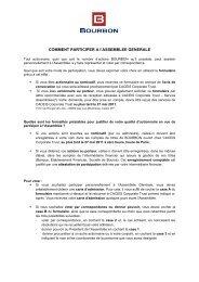 COMMENT PARTICIPER A l'ASSEMBLEE GENERALE - Bourbon