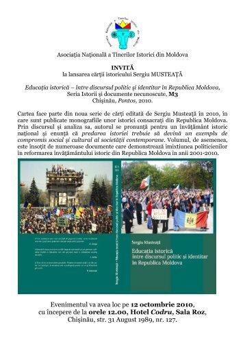 Sergiu Musteaţă, Educaţia istorică - Asociatia Tinerilor Istorici din ...