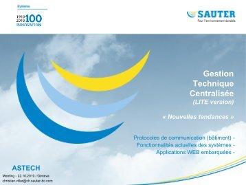 Gestion technique centralisée, nouvelles tendances - Astech